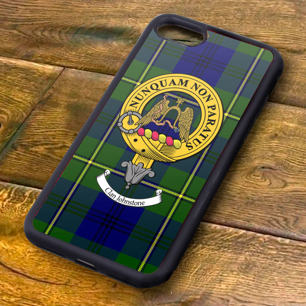 Johnstone Tartan and Clan Crest iPhone Rubber Case