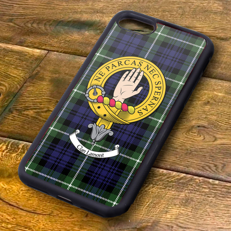 Lamont Tartan and Clan Crest iPhone Rubber Case
