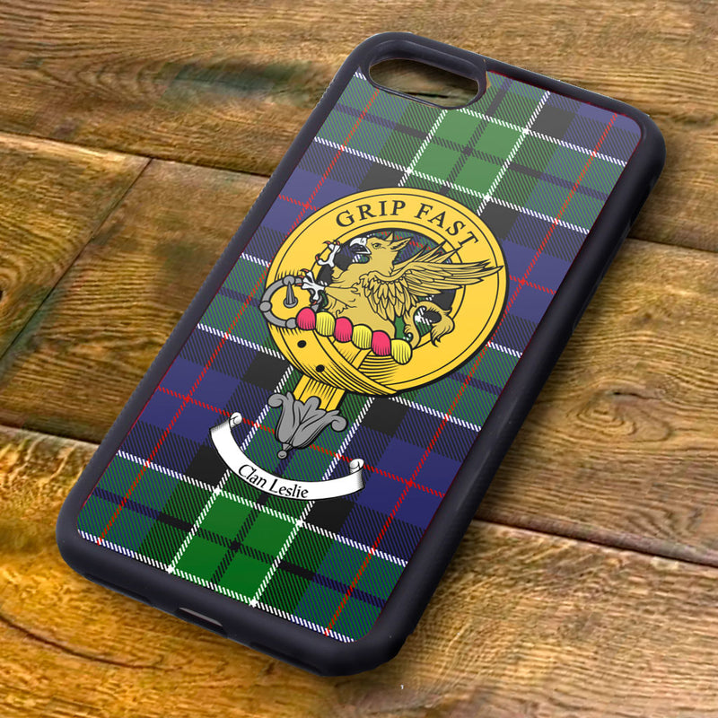 Leslie Tartan and Clan Crest iPhone Rubber Case