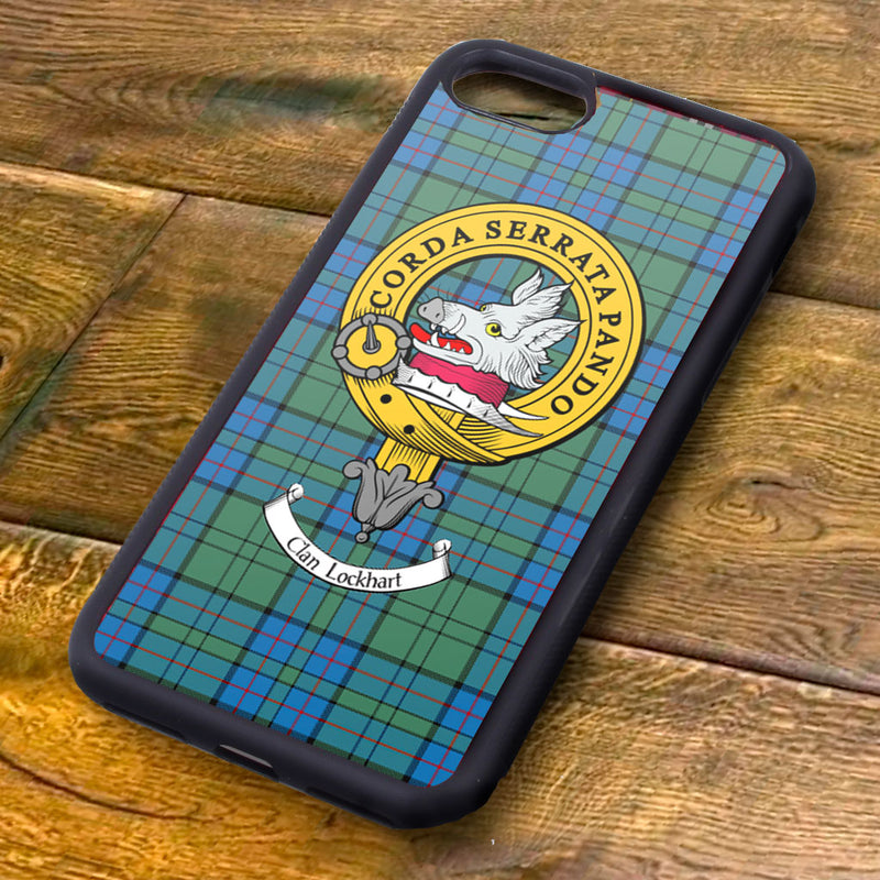 Lockhart Tartan and Clan Crest iPhone Rubber Case