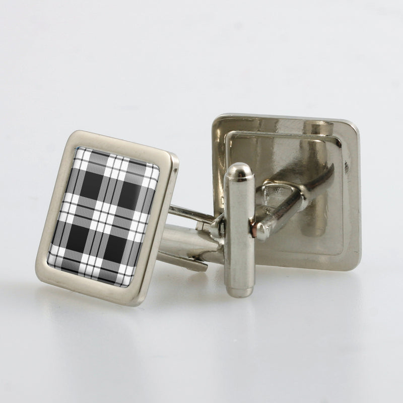 MacFarlane Black & White Tartan Cufflinks - Choose Your Shape
