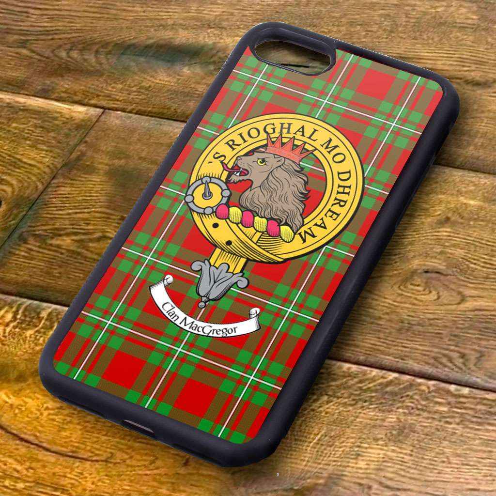 MacGregor Tartan and Clan Crest iPhone Rubber Case