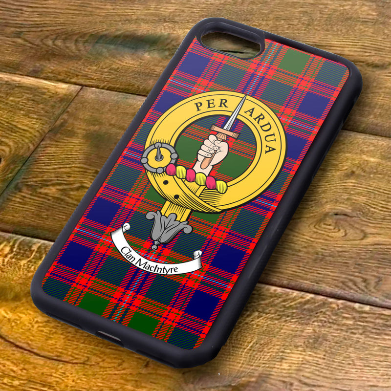Macintyre Tartan and Clan Crest iPhone Rubber Case