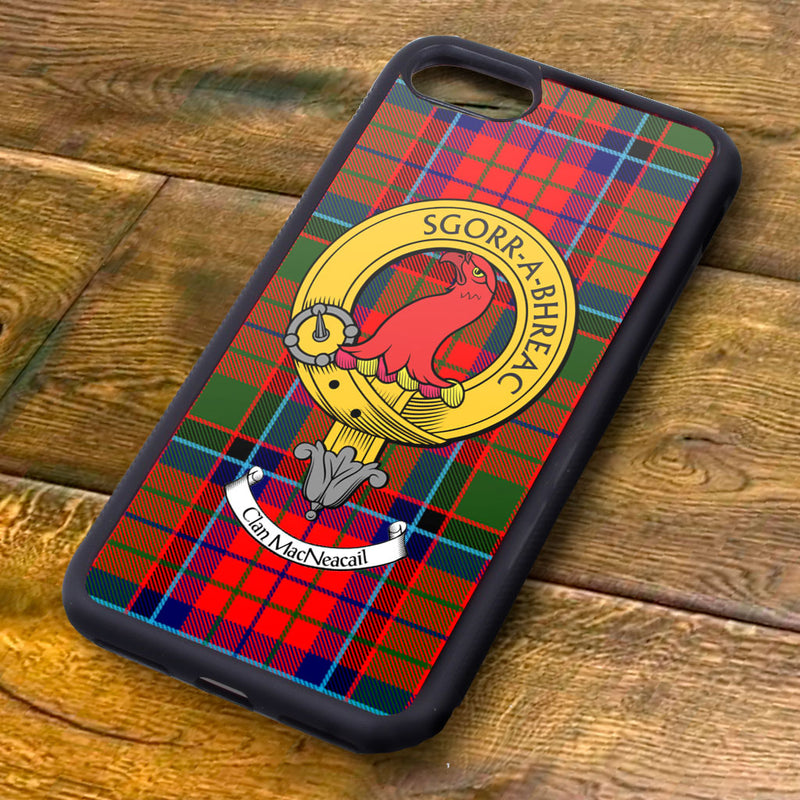 MacNeacail Tartan and Clan Crest iPhone Rubber Case