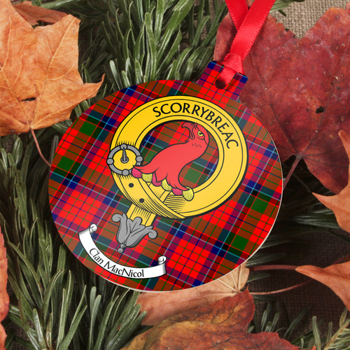 MacNicol Clan Crest and Tartan Metal Christmas Ornament - 6 Styles Available
