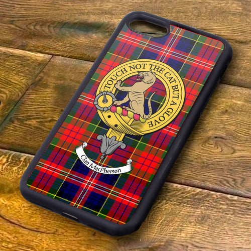 MacPherson Tartan and Clan Crest iPhone Rubber Case
