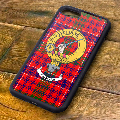 MacRae Tartan and Clan Crest iPhone Rubber Case