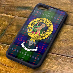 MacThomas Tartan and Clan Crest iPhone Rubber Case