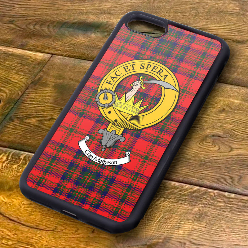 Matheson Tartan and Clan Crest iPhone Rubber Case