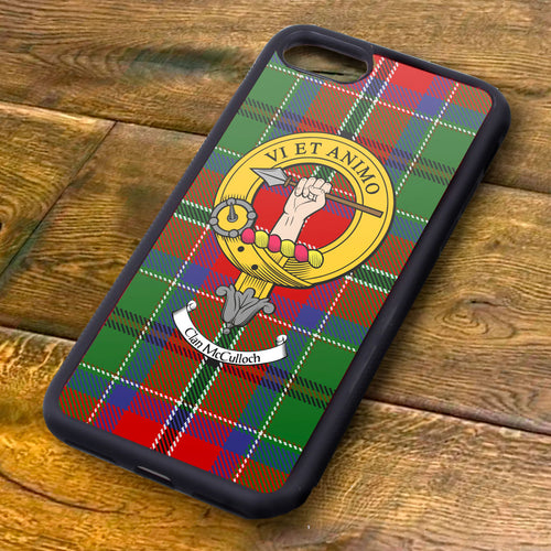 McCullouch Tartan and Clan Crest iPhone Rubber Case