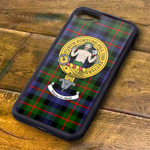 Murray of Athol Tartan and Clan Crest iPhone Rubber Case