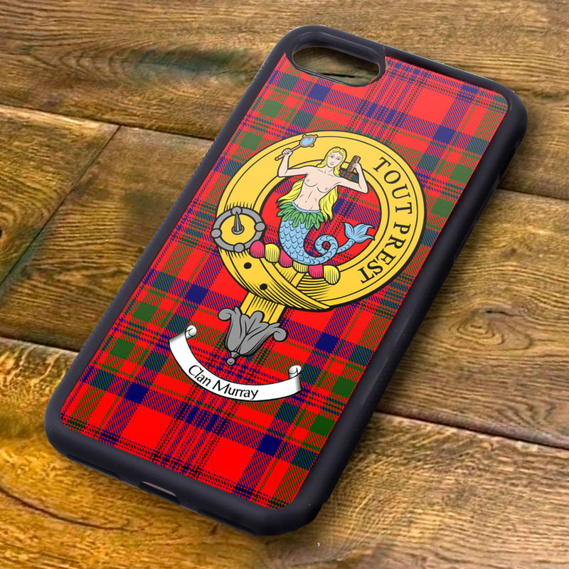 Murray Tartan and Clan Crest iPhone Rubber Case