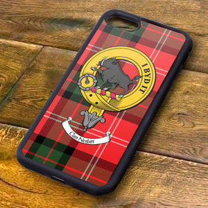 Nesbit Tartan and Clan Crest iPhone Rubber Case