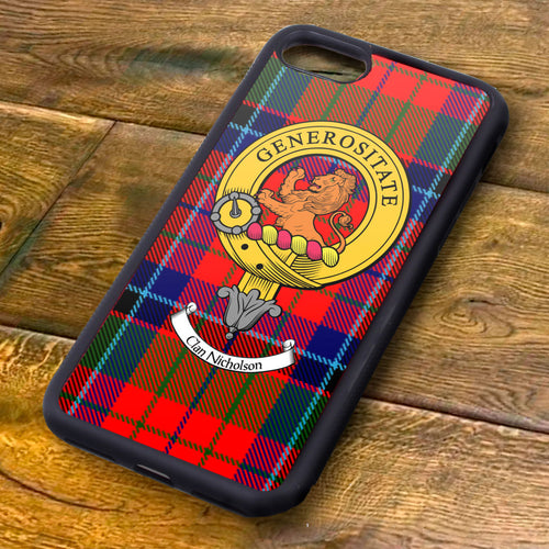 Nicholson Tartan and Clan Crest iPhone Rubber Case
