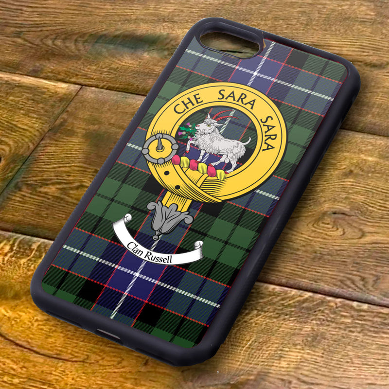 Russell Tartan and Clan Crest iPhone Rubber Case