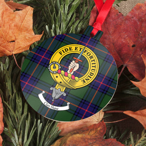 Shaw Clan Crest and Tartan Metal Christmas Ornament - 6 Styles Available