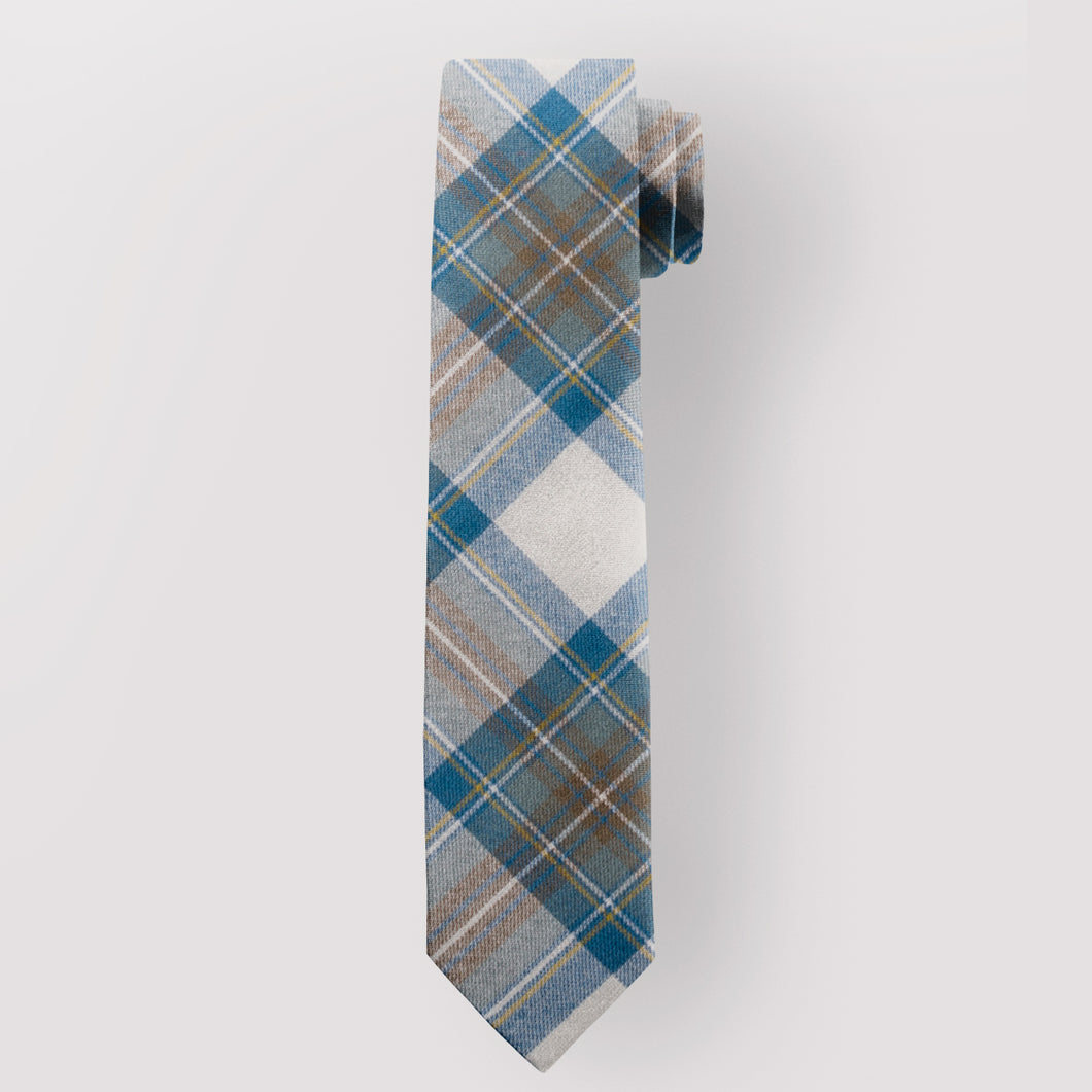 Pure Wool Tie in Stewart Muted Blue Weathered Tartan