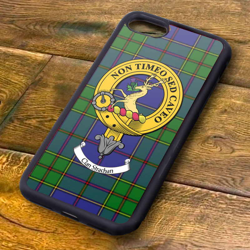 Strachan Tartan and Clan Crest iPhone Rubber Case