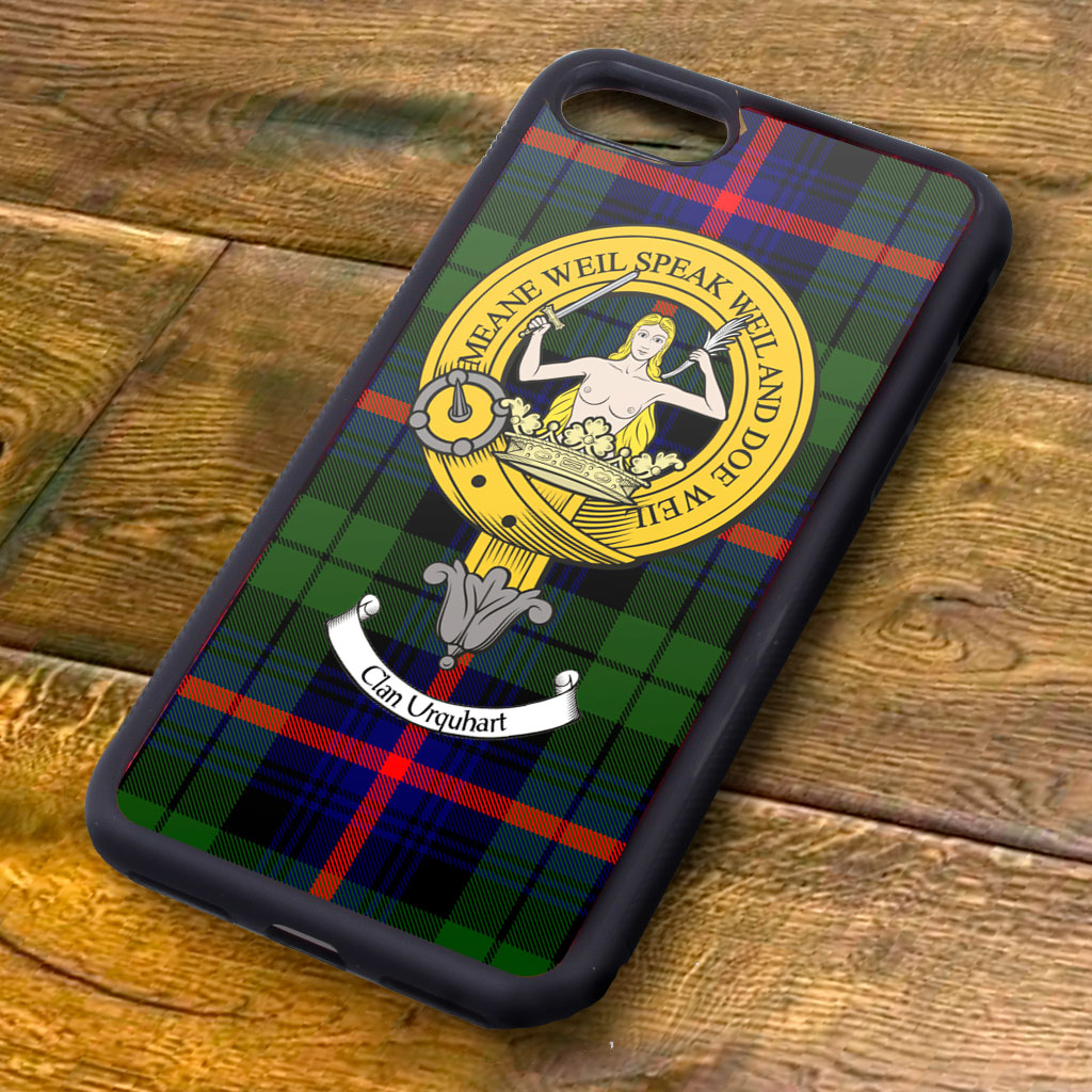 Urquhart Tartan and Clan Crest iPhone Rubber Case