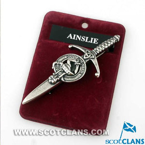 Clan Crest Pewter Kilt Pin with Ainslie Crest