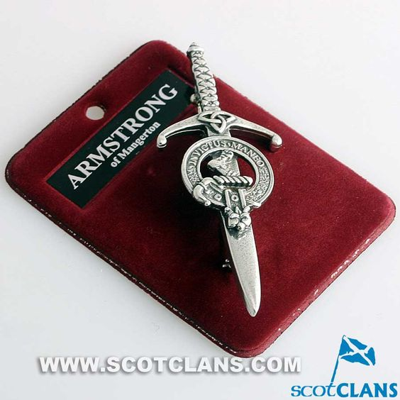 Clan Crest Pewter Kilt Pin with Armstrong Crest