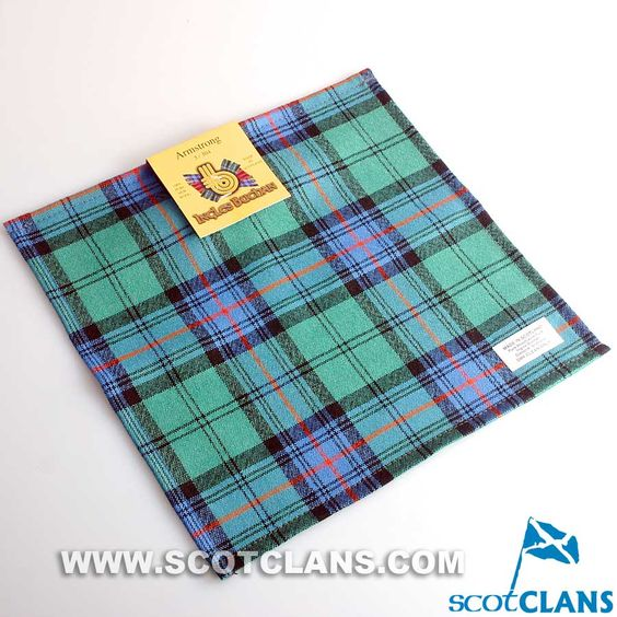 Wool Tartan Pocket Square in Armstrong Ancient Tartan