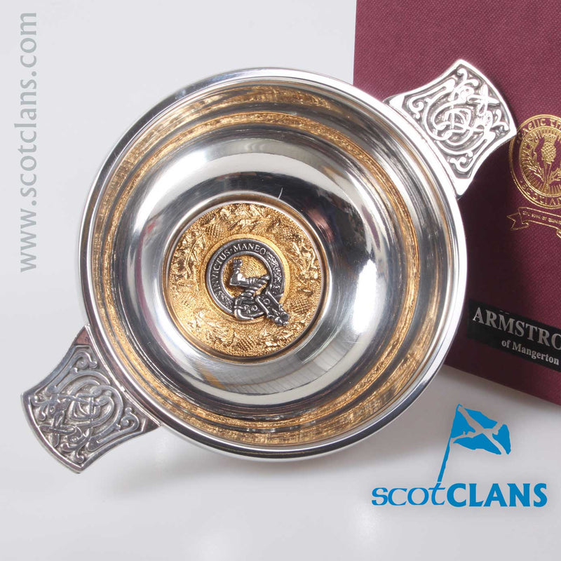Armstrong Clan Crest Quaich with Gold Trim