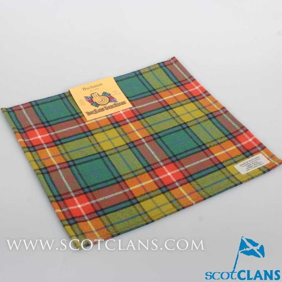 Wool Tartan Pocket Square in Buchanan Ancient Tartan