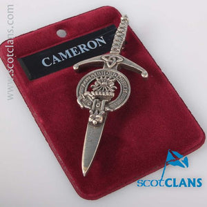 Clan Crest Pewter Kilt Pin with Cameron Crest