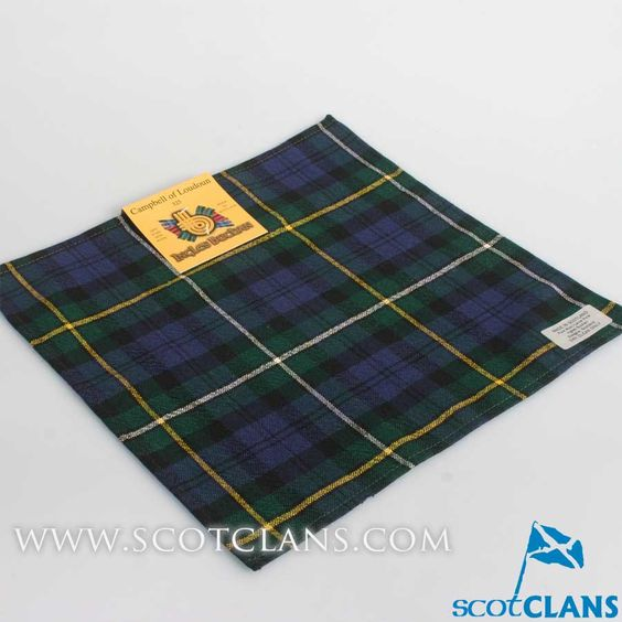 Wool Tartan Pocket Square in Campbell of Louden Modern Tartan