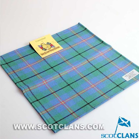 Wool Tartan Pocket Square in Carmichael Ancient Tartan