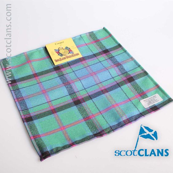 Wool Tartan Pocket Square in Cooper Ancient Tartan