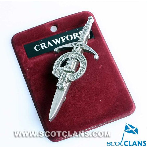 Clan Crest Pewter Kilt Pin with Crawford Crest
