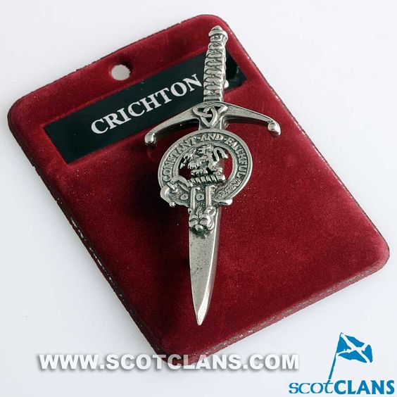 Clan Crest Pewter Kilt Pin with Crichton Crest