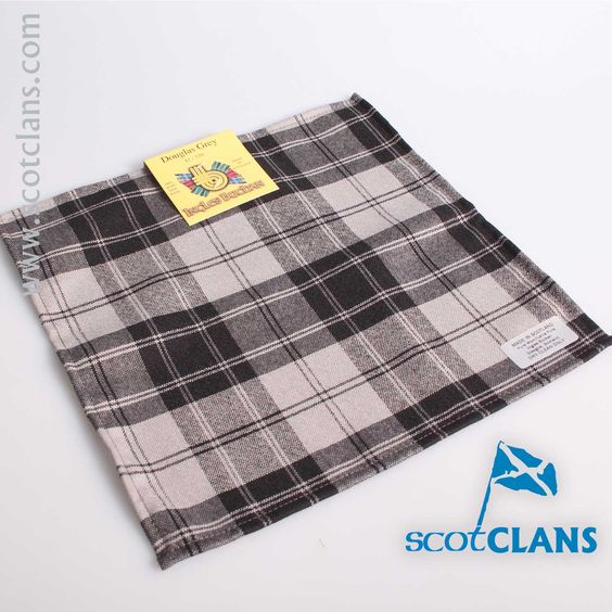 Wool Tartan Pocket Square in Douglas Grey Tartan