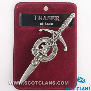 Clan Crest Pewter Kilt Pin with Fraser of Lovat Crest