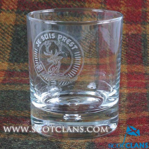 Clan Crest Whisky Glass with Fraser Crest