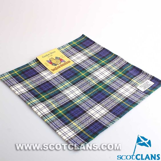 Wool Tartan Pocket Square in Gordon Dress Tartan