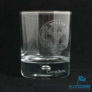 Clan Crest Whisky Glass with Gordon Crest
