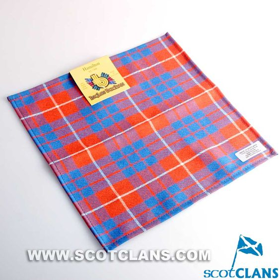 Wool Tartan Pocket Square in Hamilton Ancient Tartan