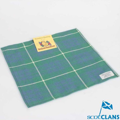 Wool Tartan Pocket Square in Hamilton Hunting Ancient Tartan