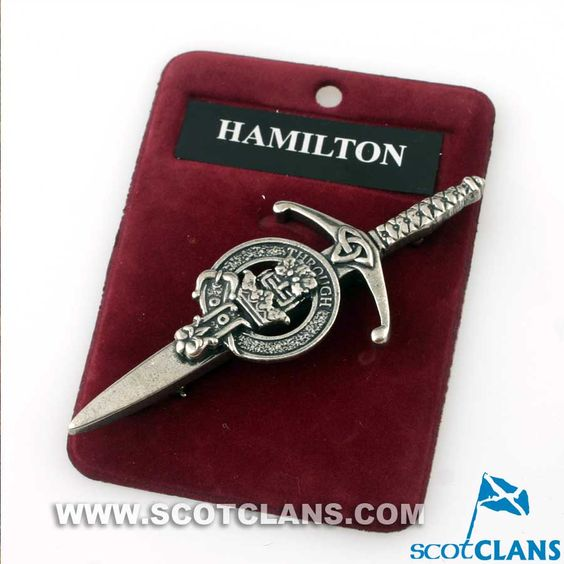 Clan Crest Pewter Kilt Pin with Hamilton Crest