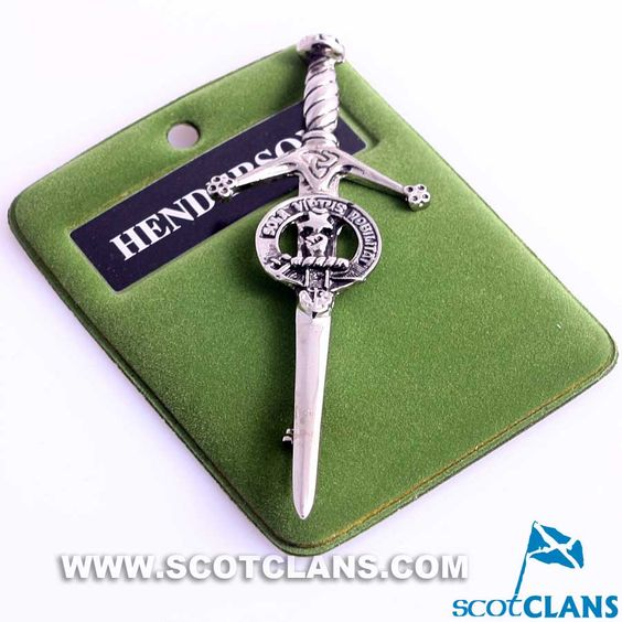 Clan Crest Pewter Kilt Pin with Henderson Crest