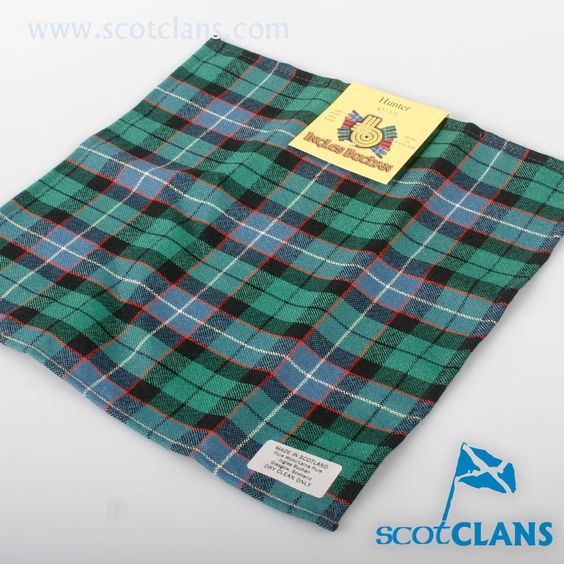 Wool Tartan Pocket Square in Hunter Ancient Tartan