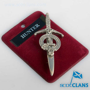 Clan Crest Pewter Kilt Pin with Hunter Crest