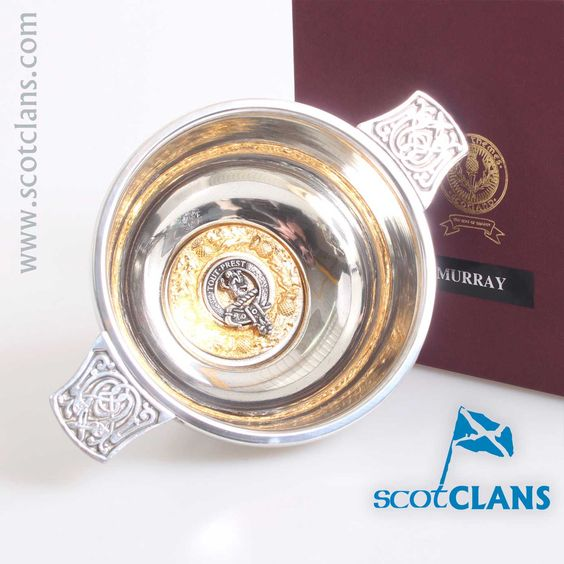 Murray Clan Crest Quaich with Gold Trim