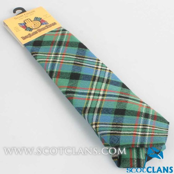 Pure Wool Tie in Scott Green Ancient Tartan.