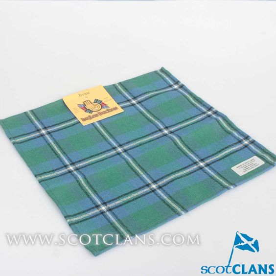 Wool Tartan Pocket Square in Irvine Ancient Tartan