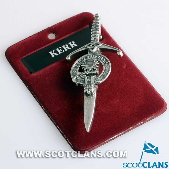 Clan Crest Pewter Kilt Pin with Kerr Crest