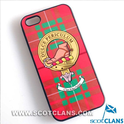 MacAulay Tartan and Clan Crest iPhone Rubber Case - 4 - 7